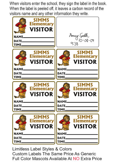 visitor pass sign in book school labels 877 522 3565